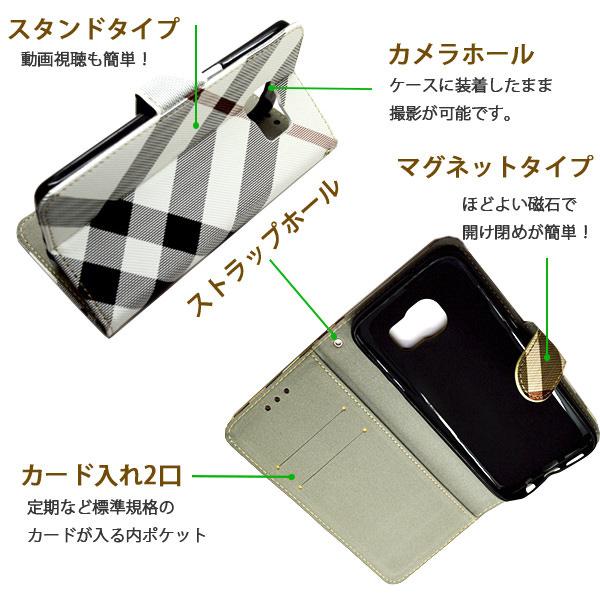 Galaxy S7 edge SC-02H SCV33 ケース チェック柄 カラーダイアリー レザー 手帳型ケース スマホケース カバー ギャラクシー s7 エッジ sc-02h scv33