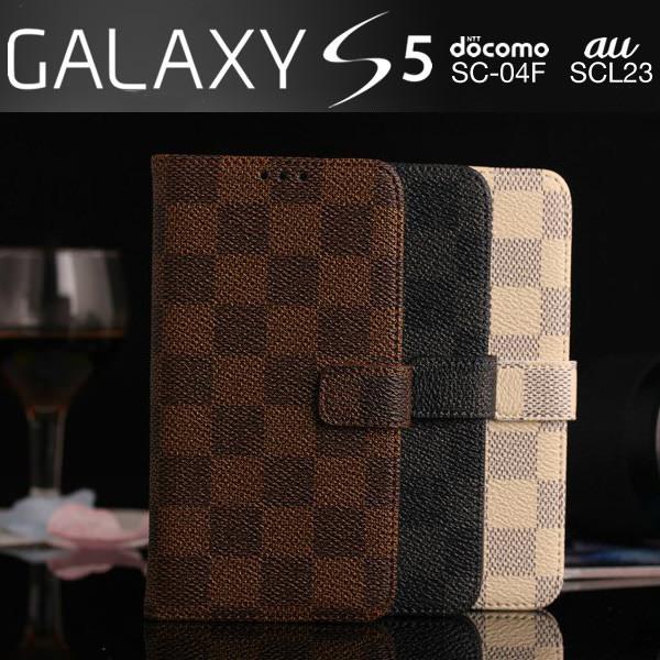Galaxy S5 SC-04F SCL23 ケース モノトーン チェック柄 格子柄 市松模様 手帳型ケース スマホケース カバー ストラップ付き ギャラクシー s5 sc-04f scl23 GALAXY