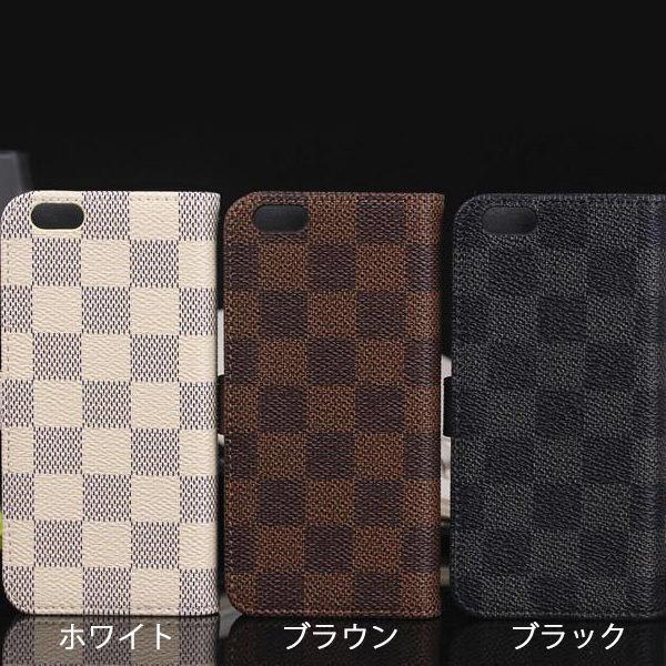 iPhone6 iPhone6s ケース モノトーン チェック柄 格子柄 市松模様 手帳型ケース スマホケース カバー ストラップ付き アイフォン 6 6S iphone