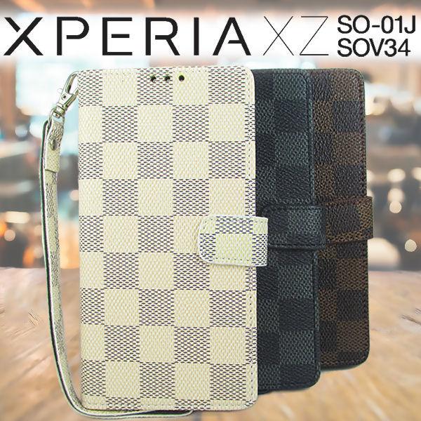 Xperia XZ SO-01J SOV34 ケース モノトーン チェック柄 格子柄 市松模様 レザーケース 手帳型ケース スマホケース カバー ストラップ付き エクスペリア xz so-01j sov34 xperia
