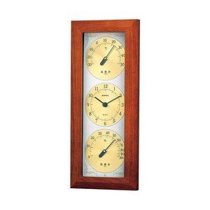 最高の品質 (まとめ)EMPEX 掛け時計 ウェザータイム 温度・時計・湿度計 TM-726【×2セット】, プレミ屋@本舗 5dc59467