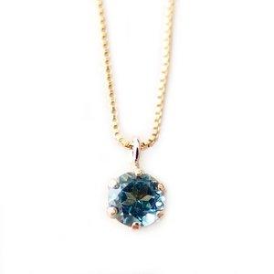 【高い素材】 ネックレス ブルートパーズ K18 イエローゴールド 11月 誕生石 一粒 シンプル プチネックレス ペンダント, E-ベルファー 9db64557