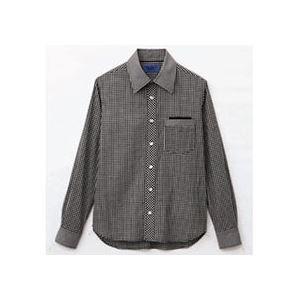 【おすすめ】 (まとめ) セロリー 大柄ギンガムチェック長袖シャツ Lサイズ ブラック S-63410-L 1枚 【×5セット】, 佐々町 f0238671