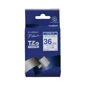 沸騰ブラドン (まとめ) ブラザー BROTHER ピータッチ TZeテープ ラミネートテープ 36mm 白/青文字 TZE-263 1個 【×10セット】, ドリンクキング 8f18b51f