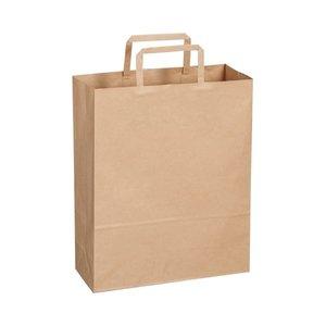 特価商品  (まとめ)TANOSEE 紙手提袋 平紐 小ヨコ260×タテ320×マチ幅100mm 茶無地 1パック(50枚)【×10セット】, コスメイト ほの香 a1671029