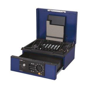 【半額】 カール事務器 キャッシュボックス2ウェイオープンタイプ A4 W352×L280×H150mm ブルー CB-D8770-B 1台, ピカキュウ f7da1b9f