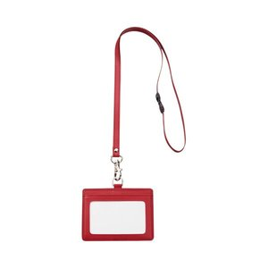 一流の品質 (まとめ) TANOSEE 合皮製ネームカードホルダー ヨコ型 ストラップ付 ワインレッド 1個 【×30セット】, セグレート ed068926