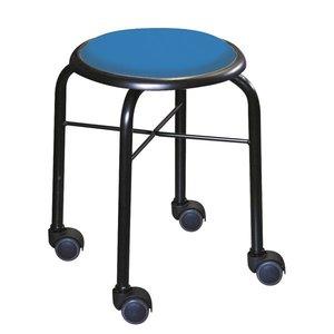 【国内配送】 スタッキングチェア/丸椅子 【同色4脚セット ブルー×ブラック】 幅32cm 日本製 スチールパイプ 『キャスタースツール ボン』【】, ゴウドチョウ 545631ce