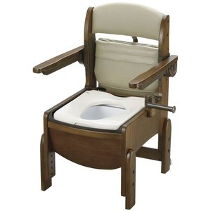 リアル リッチェル 木製ポータブルトイレ 木製トイレきらく コンパクト肘掛跳ね上げ 18550, クサツマチ 9788808e