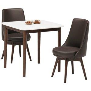 【お取り寄せ】 ダイニングセット 3点 木製 ダイニングテーブル(ホワイト/白天板)&チェア(ダークブラウン)2点 木製【組立品】【 3点】 カラーリングがおしゃれな食卓テーブル&椅子セット, 南光町:8341163f --- mikrotik.smkn1talaga.sch.id