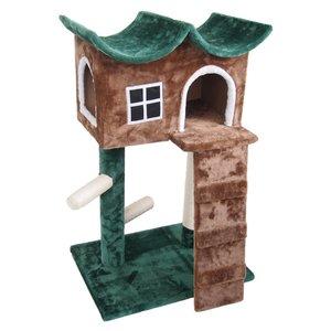 キャットハウス 緑の屋根 キャットタワー ネコ 爪とぎ ハウス おしゃれ 小屋 かわいい 猫ハウス 玩具 インテリア つめとぎ(代引不可)