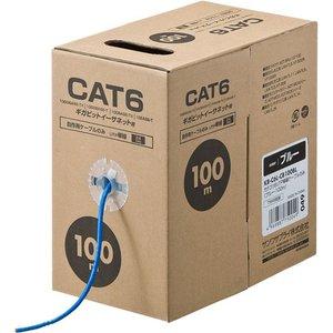 【ネット限定】 サンワサプライ CAT6 ギガビットイーサネット用 自作用ケーブルのみ UTP単線 ブルー 100m KB-C6L-CB100BL(), NetBabyWorld(ネットベビー) 5f223e4f