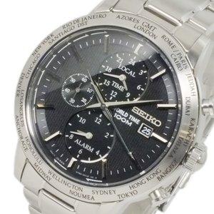 【1着でも送料無料】 セイコー SEIKO ワールドタイム アラーム GMT 時計 メンズ 腕時計 時計 SPL049P1 セイコー アラーム ブラック【ラッピング無料】, ハル薬店:32753c71 --- fukuoka-heisei.gr.jp