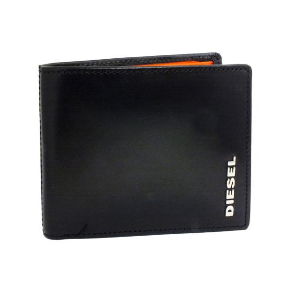 2ee0078d837a ディーゼル DIESEL 二つ折り 短財布 X03146-PR378-H5544 ブラック×オレンジ