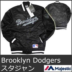 福袋 MAJESTIC 5004 マジェスティック スタジャン メンズ ブルックリン ドジャース 黒 ブラック Athletic MLB Brooklyn Dodgers SATIN JACKET Blackスタジアム ジャケット ジャンバー 野球 メジャー, 園joy-marutoyo efaafc8b