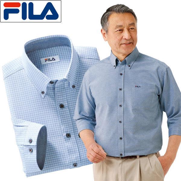 FILA 7分袖チェックシャツ 2色組 メンズ 七分袖 オックスフォード ボタンダウン 袖カフス 胸ポケット 春夏 50代 60代 957441