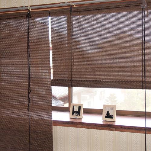 竹 ロールスクリーン 遮熱 遮光 ロールアップシェード 和風 日本製 幅88×高さ180cm RC-1561 すだれ 間仕切り