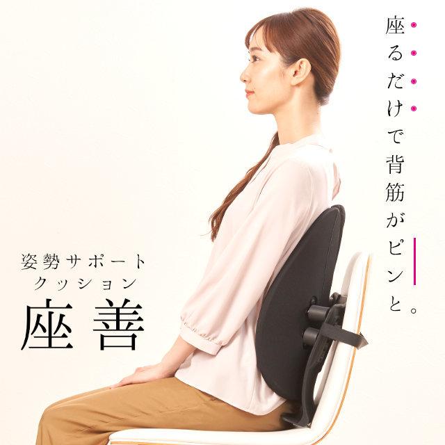 【送料無料】座善 The Zen ザゼン 姿勢改善サポートクッション 腰椎サポート 腰椎 胸椎 腰当て 背中 腰 腰痛 肩こり クッション 椅子 オフィスチェア 事務椅子 デスクワーク オフィス〔IH-ZAZEN〕