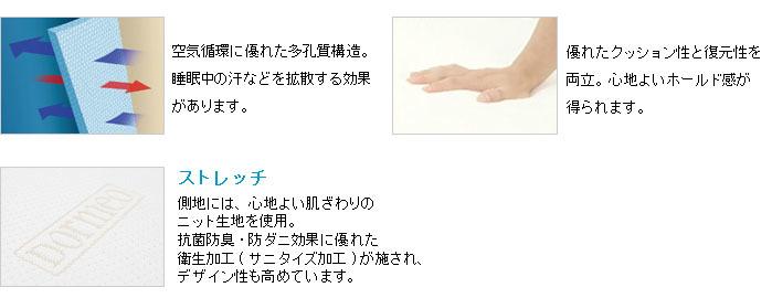 多孔質構造でムレ感軽減。優れたクッション性と復元性。心地よい肌触りのニット素材に抗菌防臭・防ダニ効果。