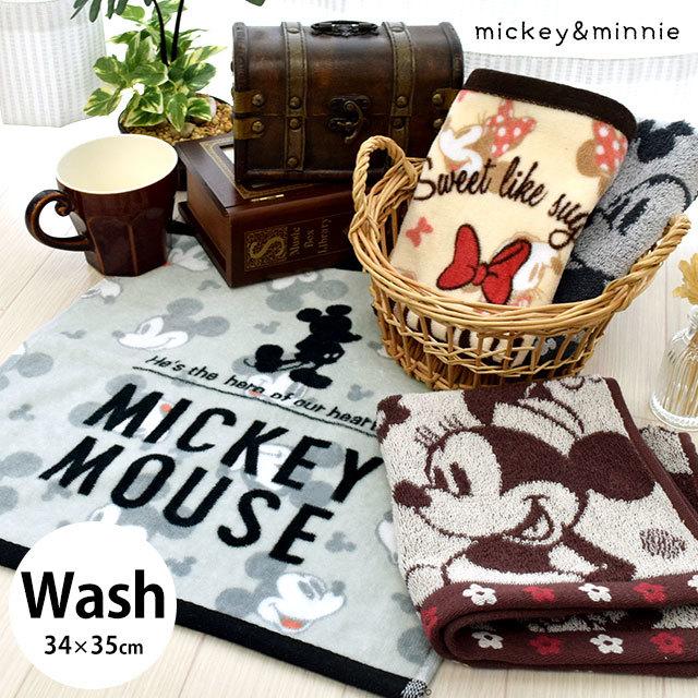ミッキー&ミニー ウォッシュタオル 34×35cm ハンドタオル Disney ディズニー キャラクター ミッキーマウス ミニーマウス〔10A-WH4〕