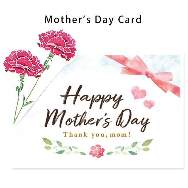 当店手作り♪ 母の日カード カーネーション ワンポイント付き 英語 Happy Mother's Day ★無料ラッピング付き★※こちらはメッセージカードではございません。〔10F-CARD-MOM1〕