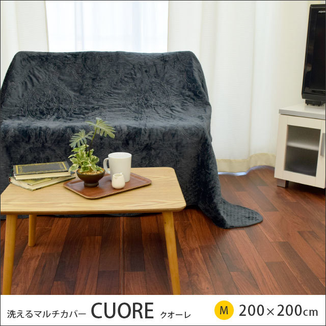 マルチカバー クオーレ 200×200cm 正方形 2畳 洗える 綿 リバーシブル〔MB-TDH6396〕