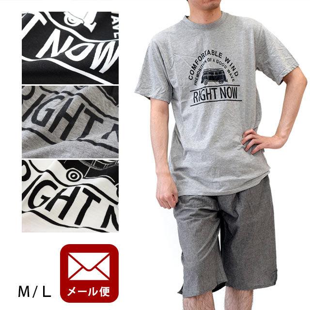 【ゆうメール】メンズ ルームウエア 上下セット M/Lサイズ 半袖 Tシャツ 半ズボン 紳士 春夏用 部屋着 パジャマ【代引き不可・同梱不可】〔YML-A-80933〕