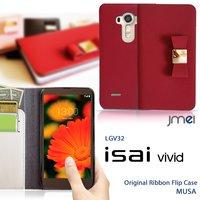 609774b440 isai vivid LGV32 au JMEI 手帳型 本革 レザーリボンフリップケース MUSA イサイ ビビ.