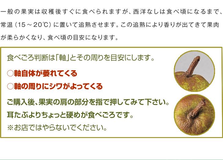 一般の果実は収穫後すぐに食べられますが、西洋なしは食べ頃になるまで、常温(15~20℃)に置いて追熟させます。この追熟により香りが出てきて果肉が柔らかくなり、食べ頃の目安になります。食べごろ判断は「軸」とその周りを目安にします。○軸自体が萎れてくる○軸の周りにシワがよってくるご購入後、果実の肩の部分を指で押してみて下さい。耳たぶよりちょっと硬めが食べごろです。※お店ではやらないでください。