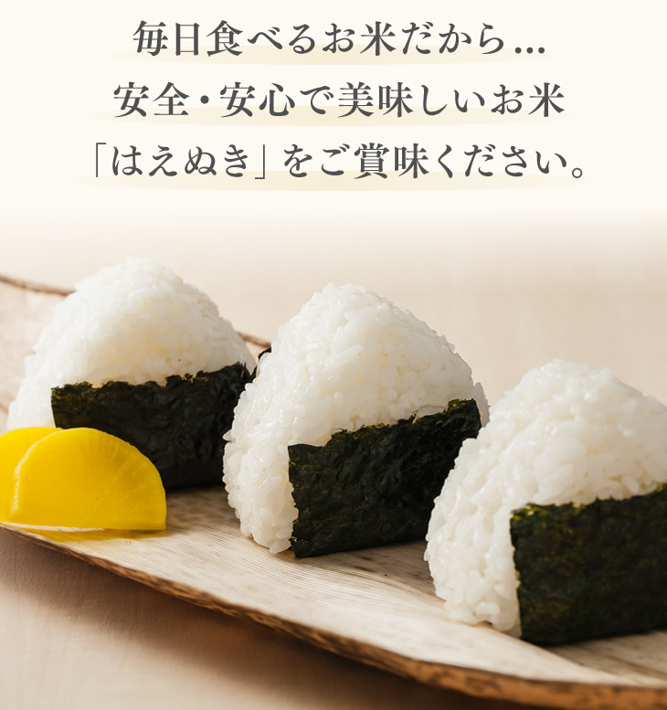 毎日食べるお米だから...安全・安心で美味しいお米「はえぬき」をご賞味ください。