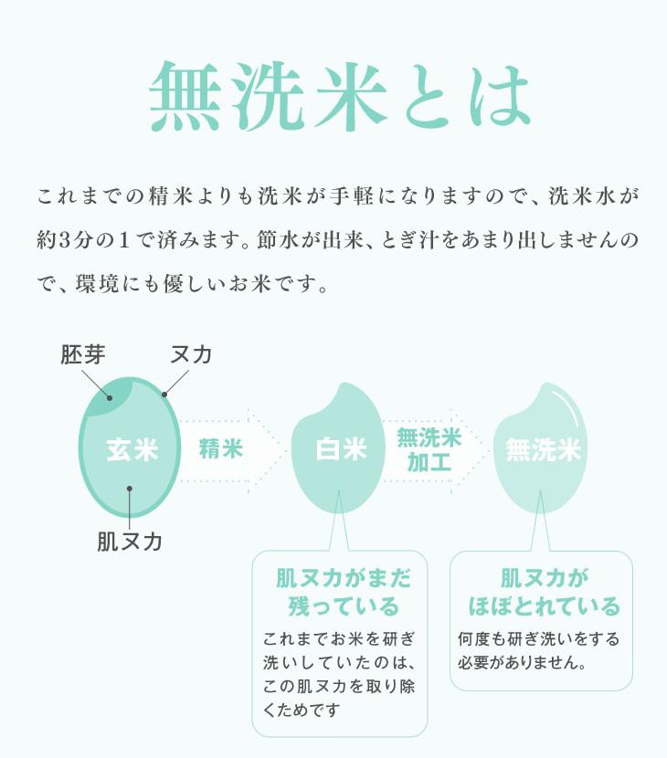 無洗米とは | これまでの精米よりも洗米が手軽になりますので、洗米水が約3分の1で済みます。節水が出来、とぎ汁をあまり出しませんので、環境にも優しいお米です。