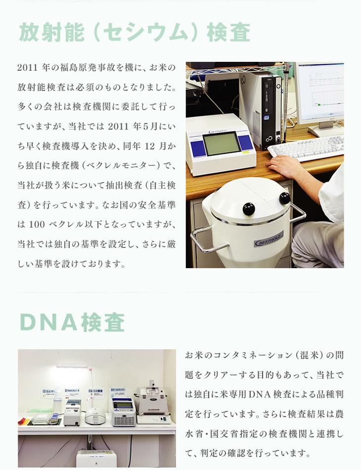 放射能(セシウム)検査:2011年の福島原発事故を機に、お米の放射能検査は必須のものとなりました。多くの会社は検査機関に委託して行っていますが、当社では2011年5月にいち早く検査機導入を決め、同年12月から独自に検査機(ベクレルモニター)で、当社が扱う米について抽出検査(自主検査)を行っています。なお国の安全基準は100ベクレル以下となっていますが、当社では独自の基準を設定し、さらに厳しい基準を設けております。 | DNA検査:お米のコンタミネーション(混米)の問題をクリアーする目的もあって、当社では独自に米専用DNA検査による品種判定を行っています。さらに検査結果は農水省・国交省指定の検査機関と連携して、判定の確認を行っています。