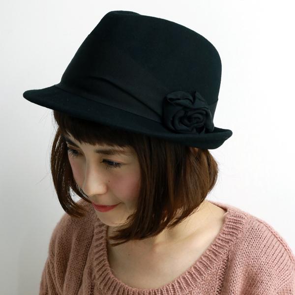 バラ色の帽子 ハット レディース 秋冬 ばら色の帽子 巻バラHat 中折れハット 中折れ帽.