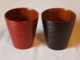 木製フリーカップペア(刷毛目根来/曙塗り)