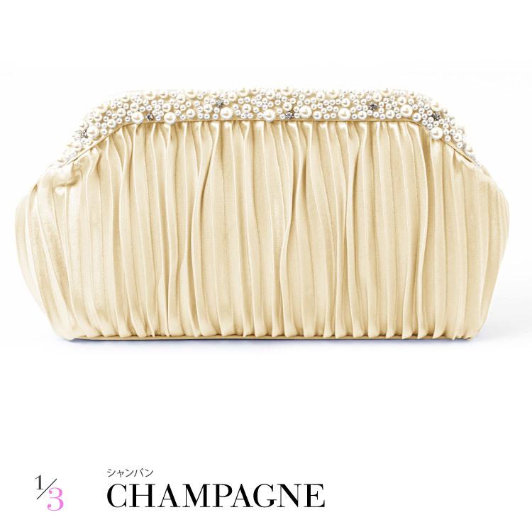 パール&サテンプリーツパーティーバッグ・シャンパン・ゴールド・クラッチバッグ・ショルダーバッグ・ハンドバッグ