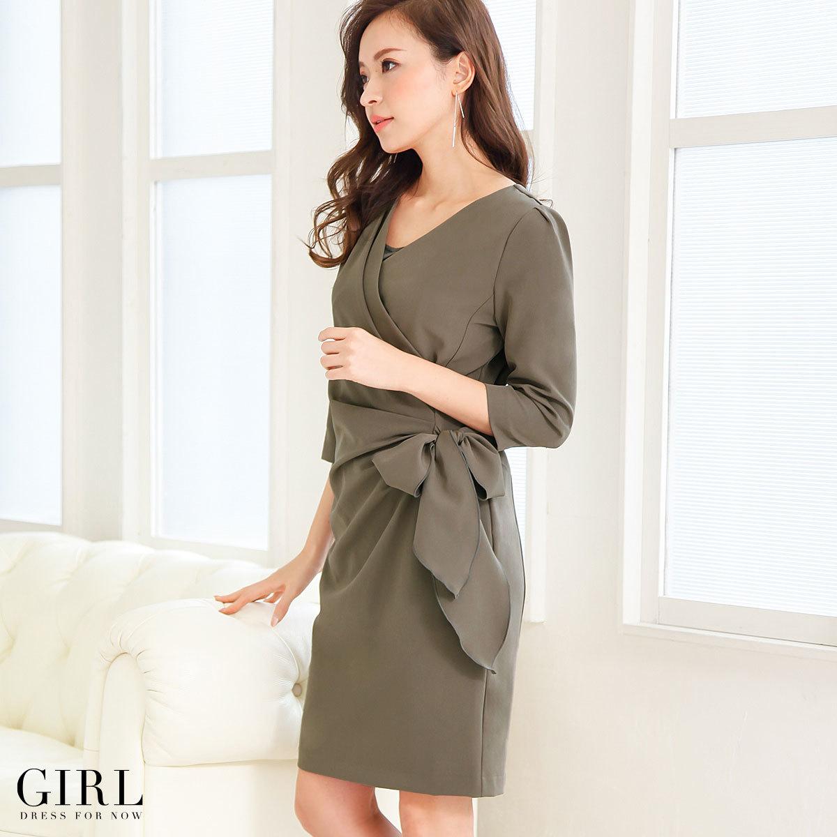 ローレンドレス・曲線美を強調・七分袖丈・サイドリボン