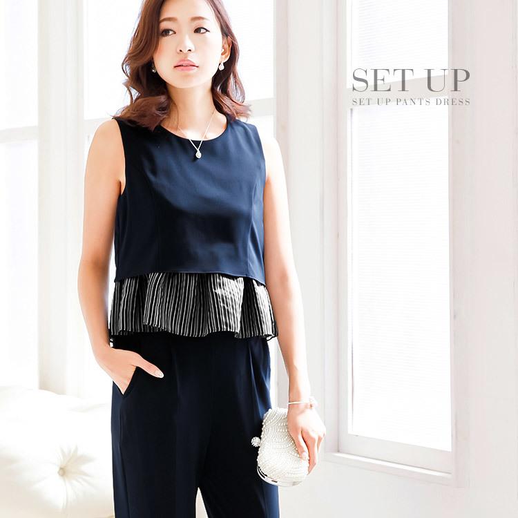 セットアップパンツドレス・モデル:中北成美・ネイビー・セットアップ・パンツドレス・ペプラム
