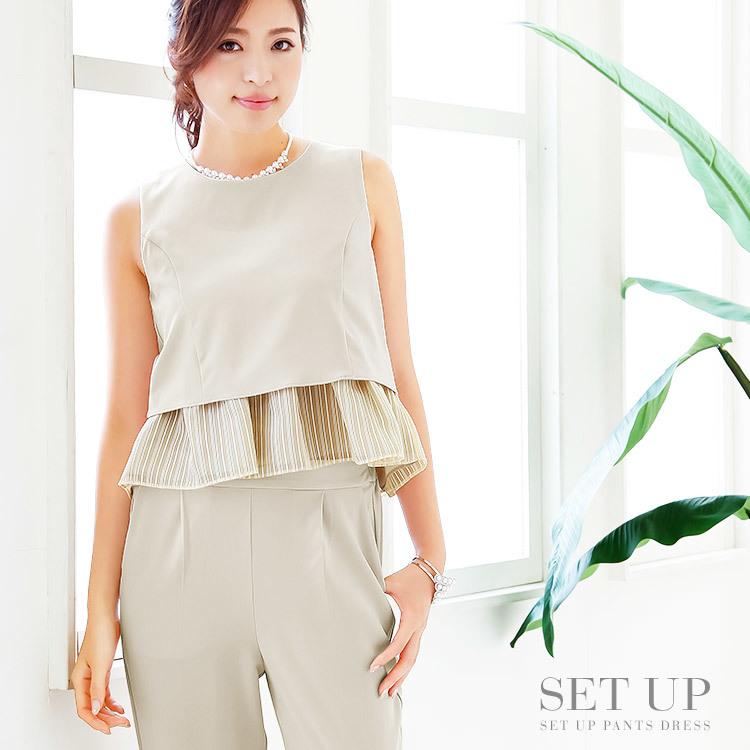 セットアップパンツドレス・モデル:中北成美・ベージュ・セットアップ・パンツドレス・ペプラム