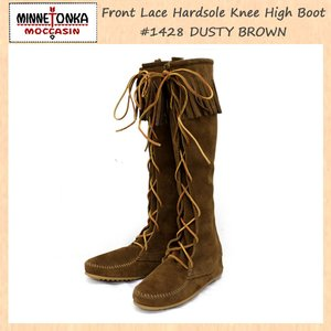 大きな取引 sale セール 正規取扱店 MINNETONKA(ミネトンカ) Front Lace Hardsole Knee High Boot(フロントレースニーハイブーツ)#1428 DUSTYBROWN MT050, 戸沢村 804a787b
