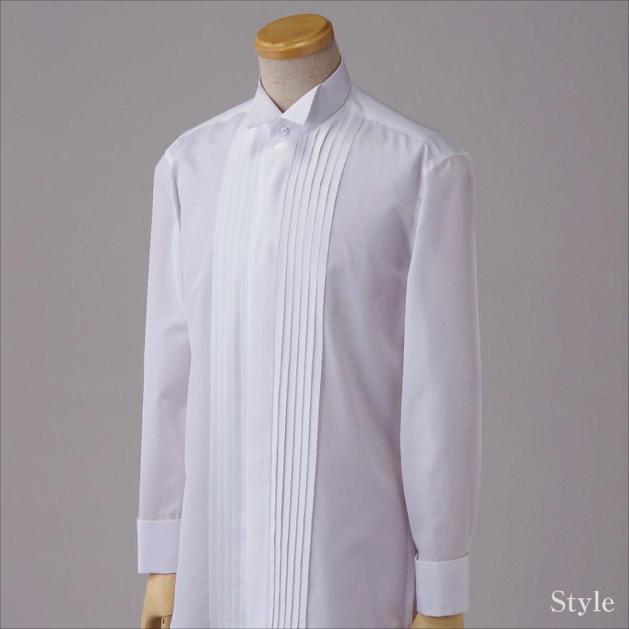 4a66f85dc0e33 結婚式に使えるウイングカラーシャツ フロントプリーツ生地フ...|WAWA JAPAN ポンパレモール