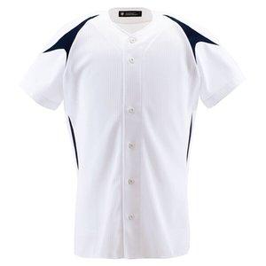 野球用 ユニフォームシャツ カラーコンビネーションシャツ(フルオープン) DB-1013 [カラー:Sホワイト×ネイビー] [サイズ:S] #DB-1013 デサント 9500円以上購入で送料無料