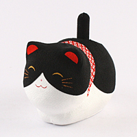 ゆらゆらソーラー猫 黒【返品・交換・キャンセル不可】【逸品館】
