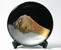 飾り皿 黒 富士山【返品・交換・キャンセル不可】【逸品館】