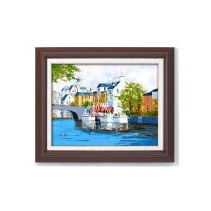 ●日本正規品● 11493 油絵額F6 黒沢久 油絵額F6 「運河の風景」 一筆一筆 黒沢久 11493、精魂込めて描きあげた本物の油絵。, チュニックナナショップ:c1c9e8f1 --- blog.buypower.ng