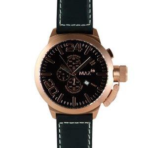 美しい MAX マックス 腕時計 MAX324 52mm Big Face ピンクゴールド ブラック クロノグラフ ウォッチ 国内正規商品【送料無料】, ワカミヤマチ f060054a