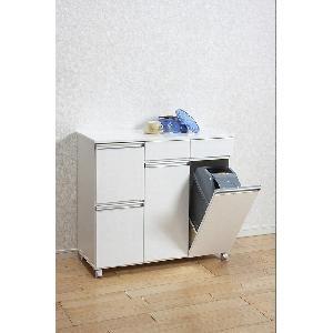 品質一番の ダイニングダストボックス4D 23713 ホワイト / カウンターとしても使えるおしゃれなダストボックス。(き)【送料無料】, ライフスタイルショップフィリア f600ba70