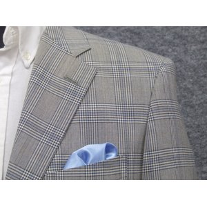 春夏物 アダルトジャケット ★厳選素材★ 尾州産生地使用 [A体] グレー系格子 ベーシック2釦ジャケット AJ743