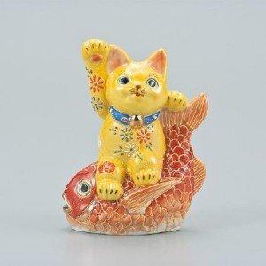 九谷焼 招猫 5号 セール 黄盛 AP2-1715(き) 手づくりのぬくもり溢れる丸谷焼の招猫 ポンパレ!!