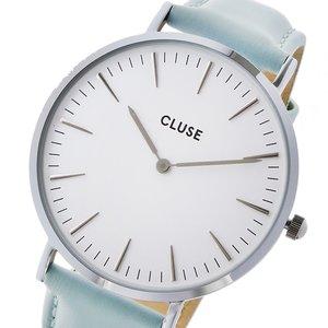 【楽ギフ_包装】 クルース CLUSE ラ・ボエーム レザーベルト 38mm レディース 腕時計 時計 CL18225 ホワイト/パステルミント, 鮮一 34a4cf38
