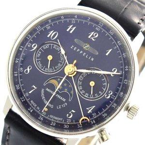 【お1人様1点限り】 ツェッペリン ZEPPELIN 腕時計 時計 レディース 7037-3 クォーツ ネイビー, コウフチョウ f4d3dc01